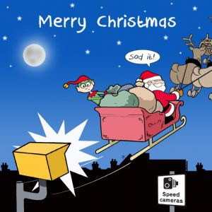 CANX30 – Speeding Santa Happy Christmas Card